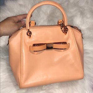 Ted Baker peach top handle bag w/ crossbody strap